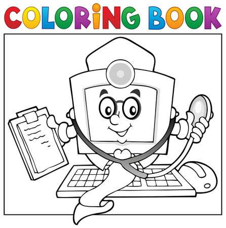 dessin au trait: thème de médecin de l'ordinateur de livre de coloriage Illustration