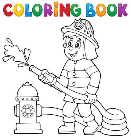 색칠 공부 책 소방 테마 일러스트