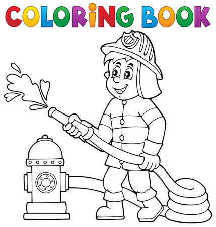 Coloring book firefighter theme  Illustration