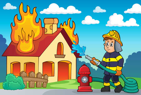 incendio casa: Imagen del tema Bombero