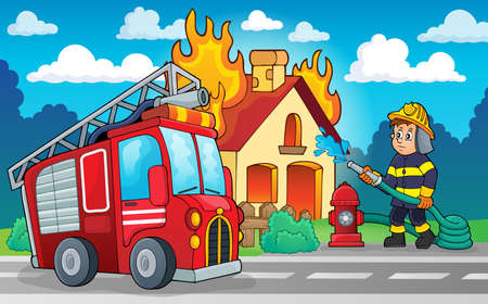building fire: Firefighter theme image