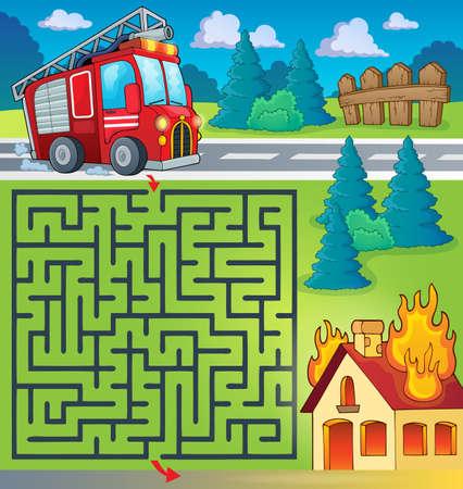 the maze: Laberinto 3 con el tema cami�n de bomberos