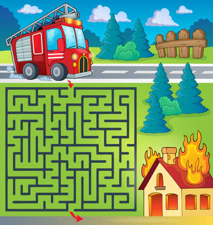 Maze 3 with fire truck theme Illustration