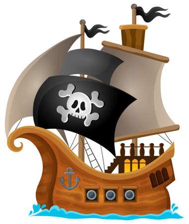 calavera pirata: Tema Pirata imagen Nave 1 - ilustración vectorial eps10.
