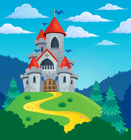 castle tower: Fairy tale castle theme image 3 - eps10 vector illustration.