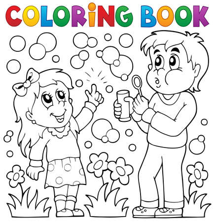 young people fun: Coloring book children with bubble kit - eps10 vector illustration.