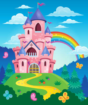 Pink castle theme image 3 - eps10 vector illustration. Stock Illustratie