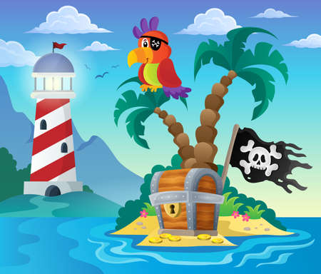 hideout: Small pirate island theme 3 - eps10 vector illustration. Illustration