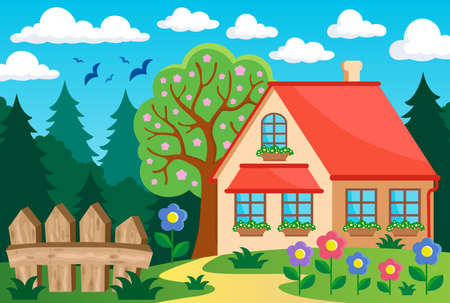 treetop: Garden and house theme background 3 - eps10 vector illustration.