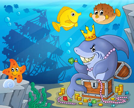 treasure: Shark with treasure theme image