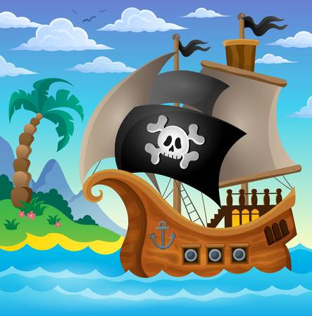 Pirate ship topic image Vectores