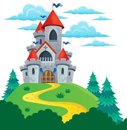 Het sprookje kasteel thema 2 - vectorillustratie eps10. Stock Illustratie