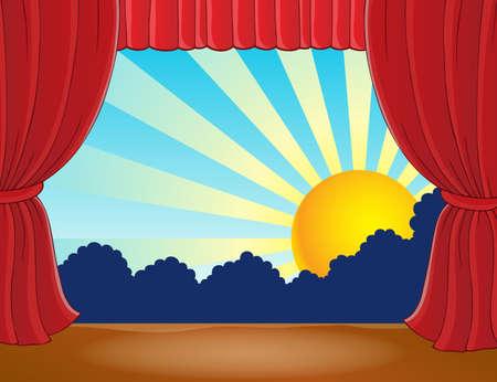 teatro: Etapa con sol abstracto 7 - eps10 ilustración vectorial.