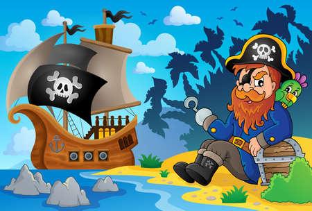 Sitting pirate theme image 8 - eps10 vector illustration.