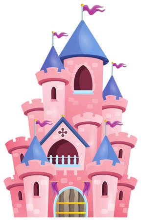 Pink beeld Het kasteel van thema 1 - vectorillustratie eps10. Stock Illustratie