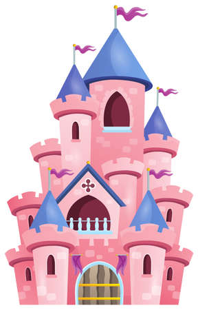 fortified: Pink castle theme image 1 - eps10 vector illustration.