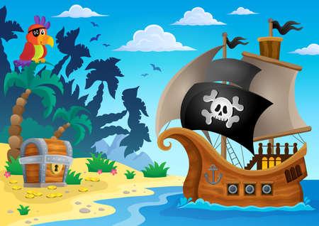 Piratenschiff Thema Bild 5 - eps10 Vektor-Illustration. Standard-Bild - 41377346