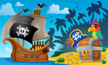 Pirate ship topic image 6 - eps10 vector illustration. Çizim
