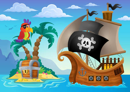 vintage ship: Small pirate island theme 2 - eps10 vector illustration. Illustration