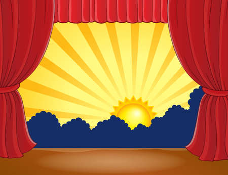 classical theater: Stage with abstract sun 6 - eps10 vector illustration. Illustration