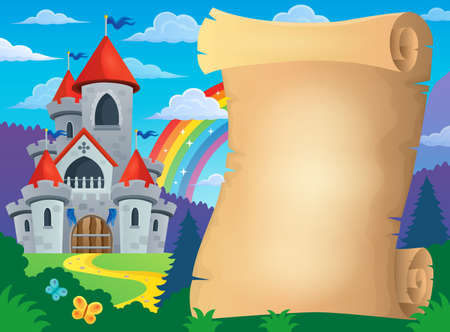 fortified: Parchment and fairy tale castle - eps10 vector illustration. Illustration