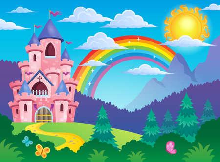castillo medieval: Imagen Pink castillo tema 4 - ilustración vectorial eps10. Vectores