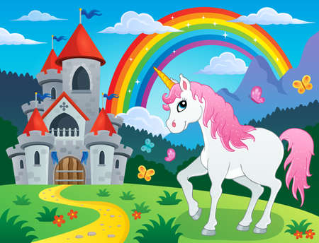 fortified: Fairy tale unicorn theme image 4 - eps10 vector illustration.