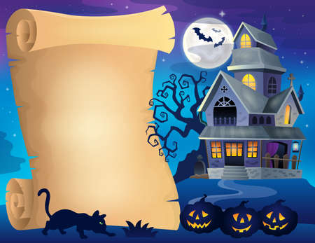 haunted tree: Parchment with haunted house thematics 2 - eps10 vector illustration. Illustration