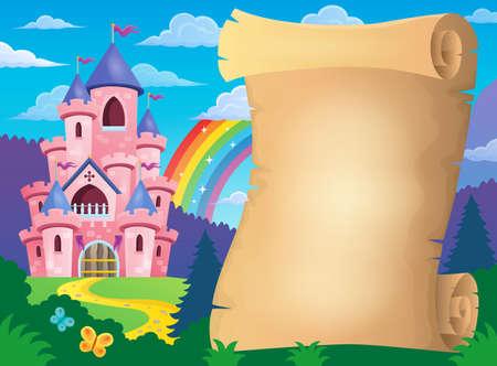 fairytale castle: Parchment and pink castle - eps10 vector illustration.