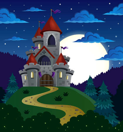fortified: Night scene with fairy tale castle - eps10 vector illustration.