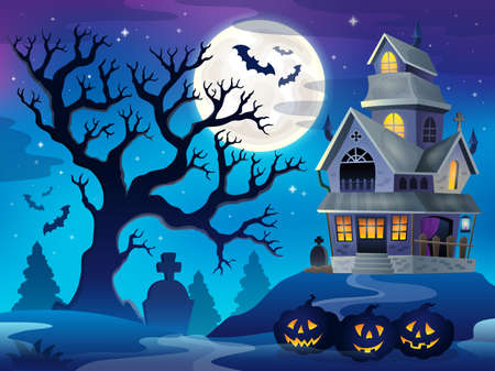 mansion: Image with haunted house thematics 6 - eps10 vector illustration.