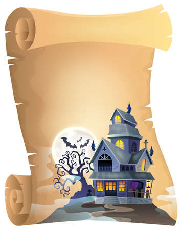 mansion: Parchment with haunted house thematics 1 - eps10 vector illustration.