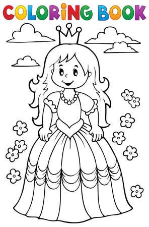 princesa: Colorear princesa libro Tema 3 - ilustración vectorial eps10. Vectores