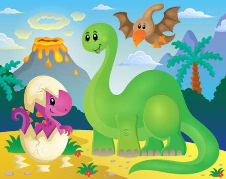 dinosaurio: Imagen del tema del dinosaurio 5 - ilustraci�n vectorial eps10.