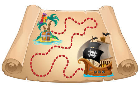 ships: Pirate scroll theme image 1 - eps10 vector illustration. Illustration