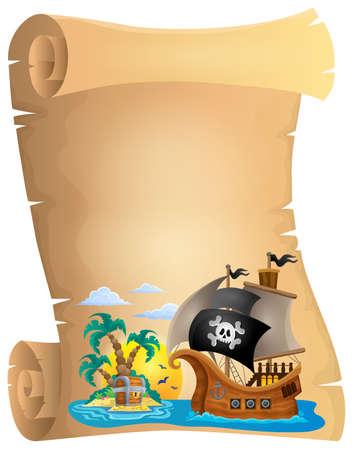 isla del tesoro: Pirata Imagen del tema de desplazamiento 2 - ilustración vectorial eps10.