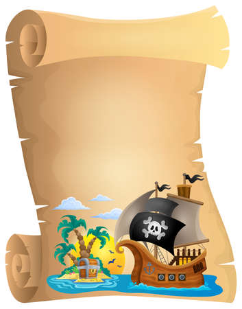 pirate skull: Pirate scroll theme image 2 - eps10 vector illustration.