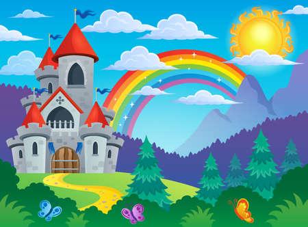 Het sprookje kasteel thema 4 - vectorillustratie eps10. Stockfoto - 41849729