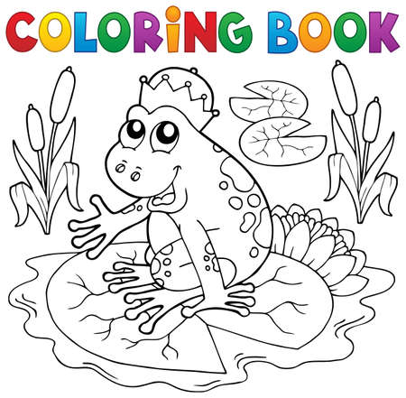 Coloring book fairy tale frog - eps10 vector illustration. Illustration