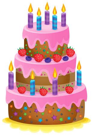 torta compleanno: Torta di compleanno immagine Tema 1 - illustrazione vettoriale. Vettoriali