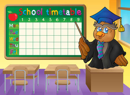 classes schedule: School timetable classroom theme 2 - vector illustration.