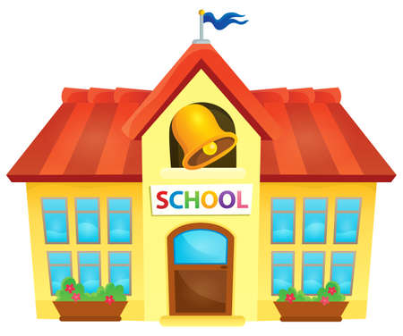 public house: School building theme image 1 - vector illustration.