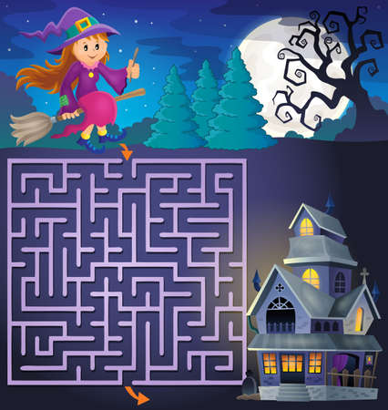 haunted: Maze 3 with cute witch and haunted house - vector illustration.