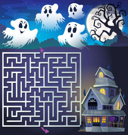 maze: Maze 3 with ghosts and haunted house - vector illustration. Illustration