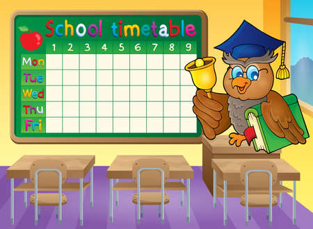 classes schedule: School timetable classroom theme 1 - vector illustration.
