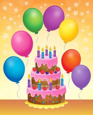 cake with icing: Birthday cake theme image 6 - vector illustration.