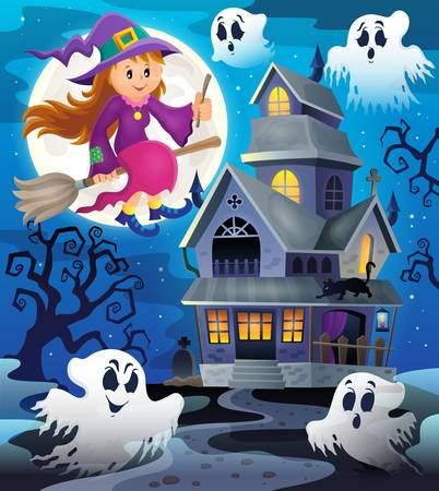 haunted tree: Image with haunted house thematics 8 - vector illustration. Illustration