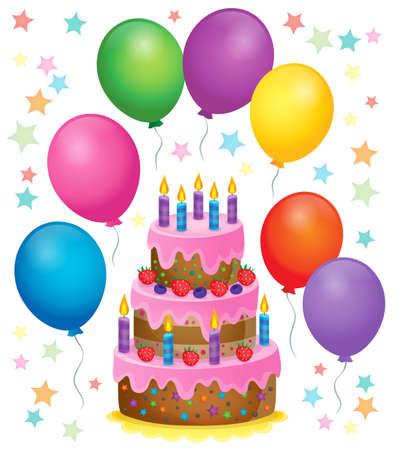 torta de cumpleaños: Imagen del tema de la torta de cumpleaños de 4 - ilustración vectorial.