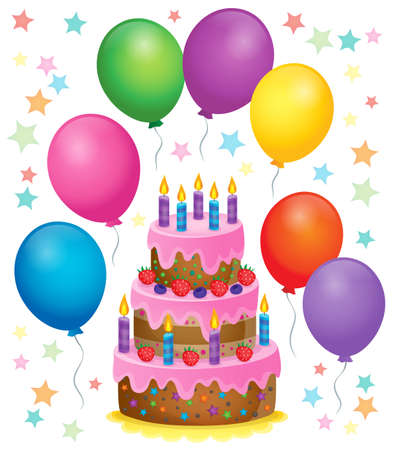Birthday cake theme image 4 - vector illustration.