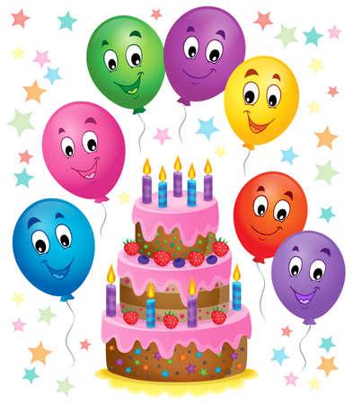 pastel de cumplea�os: Imagen del tema de la torta de cumplea�os de 7 - ilustraci�n vectorial.